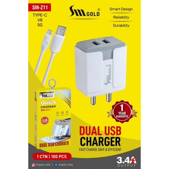 SM Gold SM-Z11 3.4A Fast 2 USB Port Adapter Smart Mobile Phone Charger