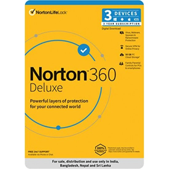 Norton 360 Delux for 3 PC, Mac®, smartphone or tablet Security Software