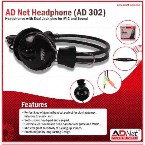 Adnet AD-302 Wired Over the Ear with Mic Headphone