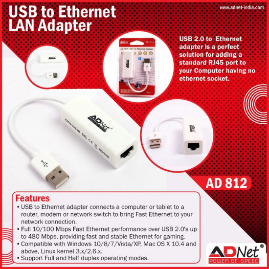 ADNET AD812 USB 2.0 to fast Ethernet 10/100 Mbps RJ45 Network LAN Adapter