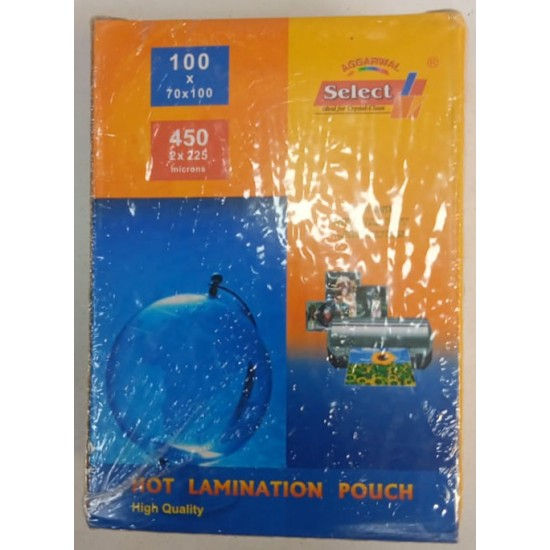 Aggarwal Select High Quality 450 (2*225) Micron B1 Size (225mm * 310mm) 100 PCs Pack Hot Lamination Pouch