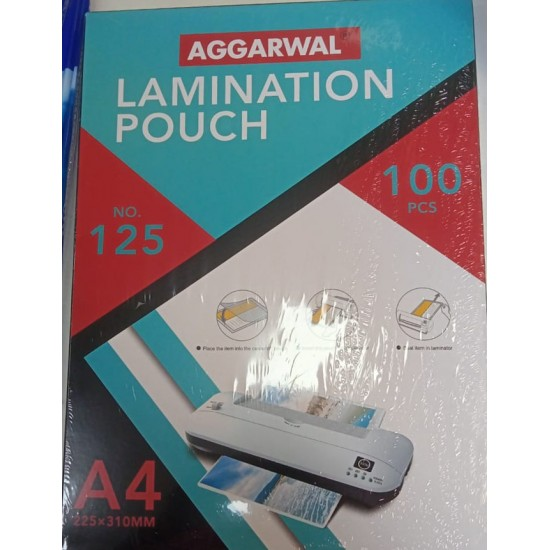 Aggarwal 125 Micron A4 Size (225mm * 310mm) 100 PCs Pack Lmination Pouch