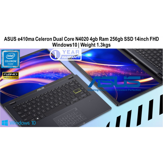 ASUS E410ma Celeron Dual Core 256GB SSD 4GB RAM 14 Inch Windows 10 Thin | Light Weight Laptop