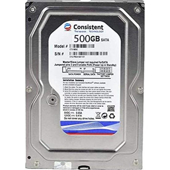 Consistent 500 GB HDD SATA 3.5 Inch with 2 Year Warranty Desktop Internal Hard Drive