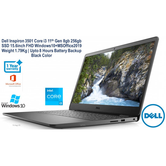 Dell Inspiron 3501 15.6-inch (10th Gen Core i3-1005G1/4GB/1TB HDD + 256GB SSD/Windows 10 Home + MS Office/Intel HD Graphics), Soft Mint FHD Laptop
