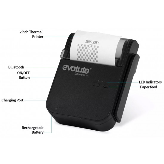 Evolute Impress+ Bluetooth Compact Lightweigh Wireless Mobile Thermal Printer