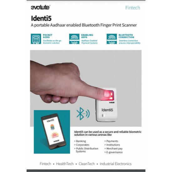 Evolute Identi5 Bluetooth Finger Print Aadhar Enabled Bio Metric Scanner Biometric Device