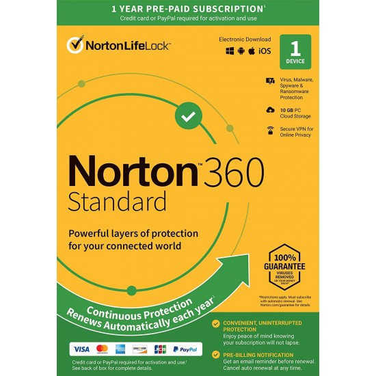Norton 360 Standard for 1 PC, Mac®, smartphone or tablet Security Software