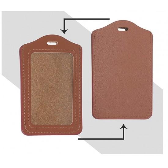 Leather Card ID PU Leather Window ID Badge Holder Horizental/Vertical ID Card Holder