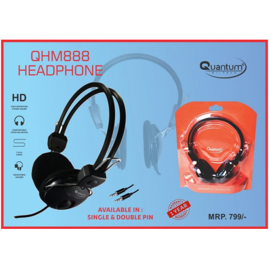 Quantum QHM888 Headset Wired Over the Ear with Mic Headphone