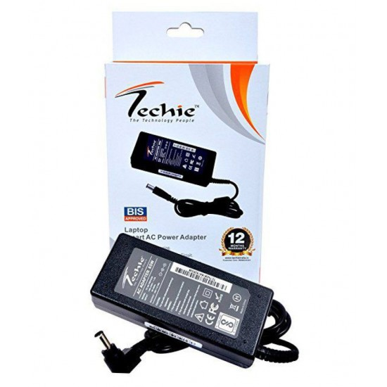 Techie Laptop Charger@Best Price For HP, Lenovo, Sony, Compaq, Dell, Asus Models Perfectly Compatible with 1 Year warranty NoteBook Power Adapter