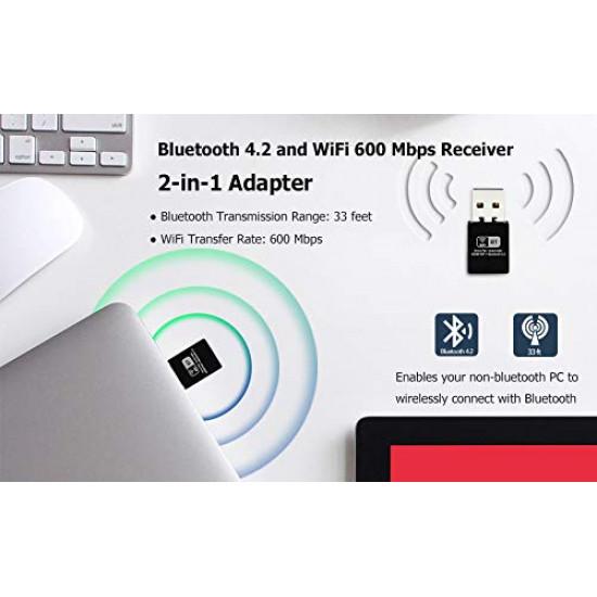 USB WiFi Bluetooth Adapter Wireless Network External Receiver  for PC|Laptop|Desktop Mini WiFi Dongle