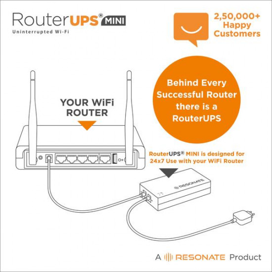 RESONATE RouterUPS Mini CRU12V2AM Power Backup for Router DC UPS
