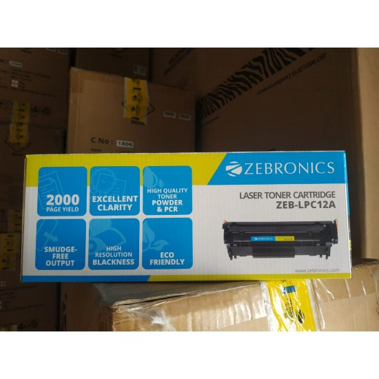 Zebronics 12A 88A 78A 2000 page yield ECO Friendly Black Laser Printer Toner Cartridge
